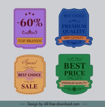 sale label templates colored retro decor elegant design