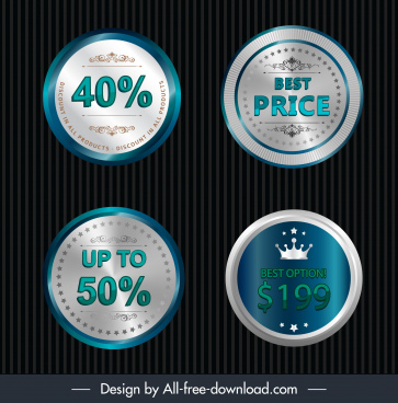 sale label templates modern shiny elegant circle decor