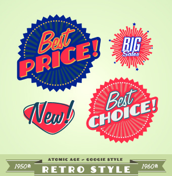 sale labels retro style vector