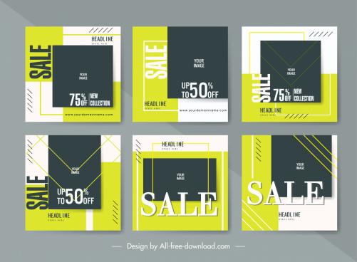 sale leaflet templates classic flat contrast decor
