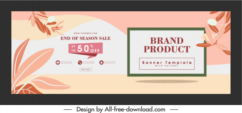 sale poster template bright classic design leaves decor