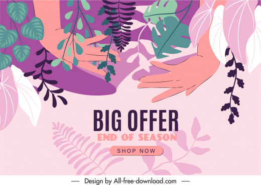sale poster template colorful classical leaves hands sketch