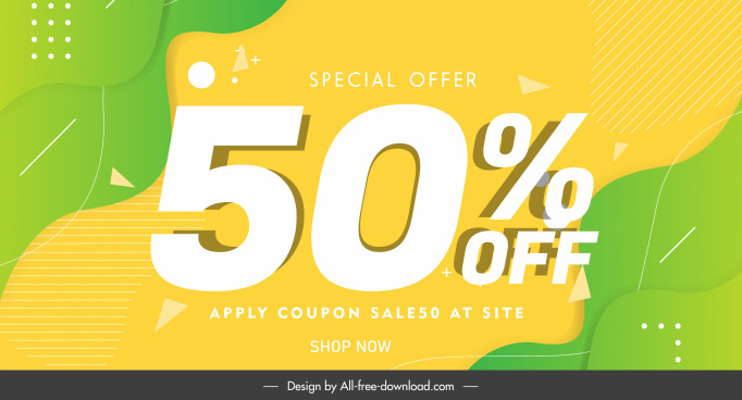 sale poster template elegant bright colored flat curves