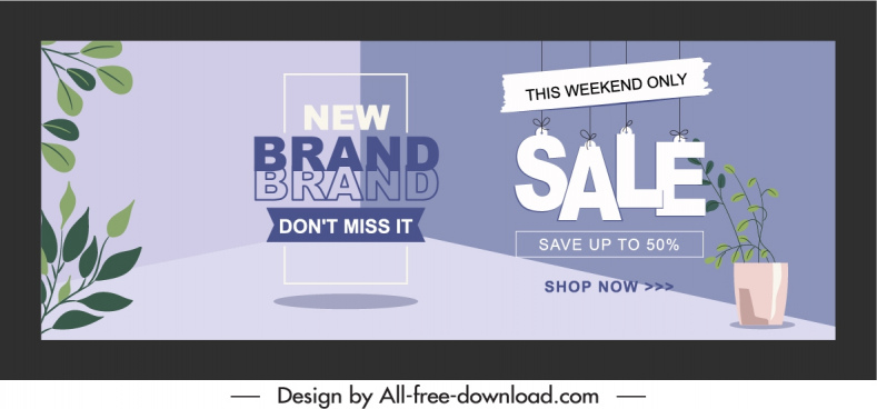 sale poster template hanging texts leaves plants decor