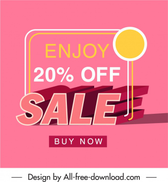 sale poster template pink decor 3d shaded texts