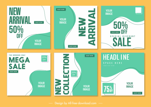 sale poster templates abstract bright curves sketch