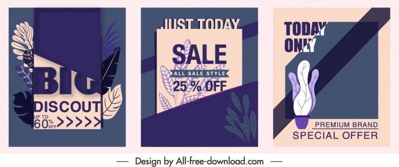 sale poster templates dark retro leaf decor