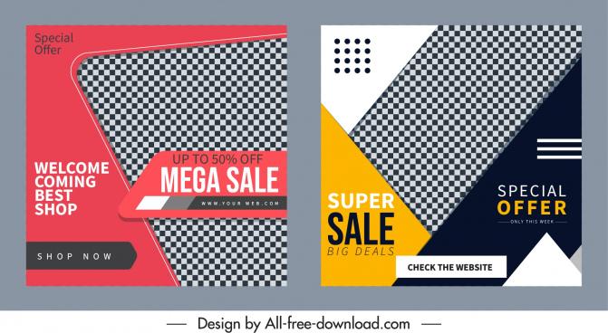 sale poster templates elegant checkered decor modern design