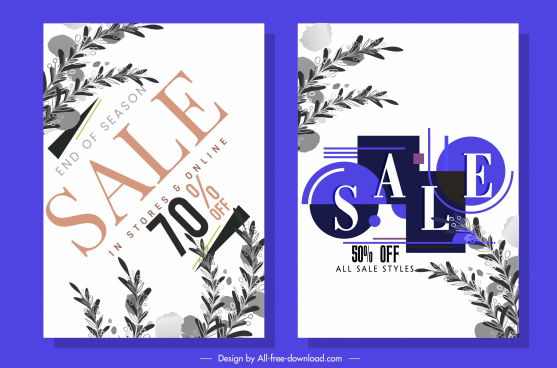 sale poster templates elegant texts leaves decor