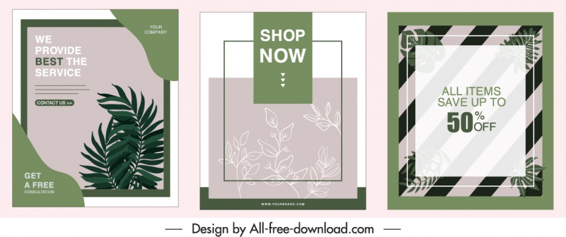 sale poster templates retro design leaves decor