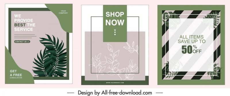 sale poster templates retro design leaves decor