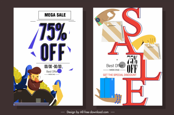 sale poster templates texts shopping elements decor