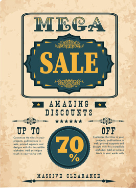 sale poster vector design with vintage style