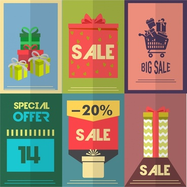 sale posters collection illustration with retro style