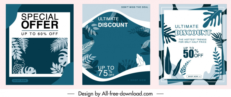 sale posters templates classic leaves decor dark design