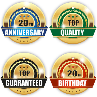 sale promotion insignia icons with golden design