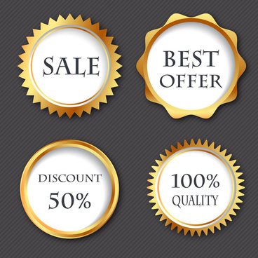 sale promotion round icons with yellow border