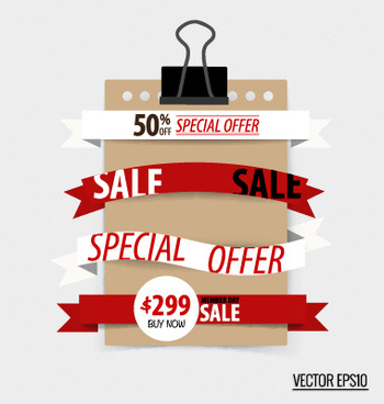 sale ribbon banner paper vector