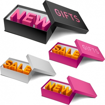 sales design elements box text icons modern 3d