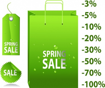 spring sale design elements green bag tags percentage