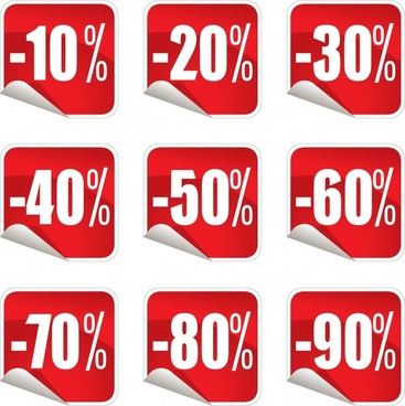 sales stickers templates modern red white square shapes