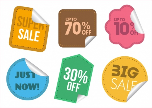 sale stickers collection various colored shapes isolation