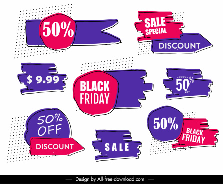 sale tag labels templates colored flat handdrawn shapes