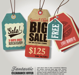 sale tag poster retro style vector