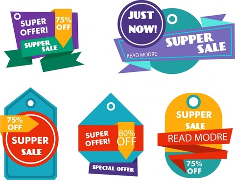sale tags collection colorful origami design style