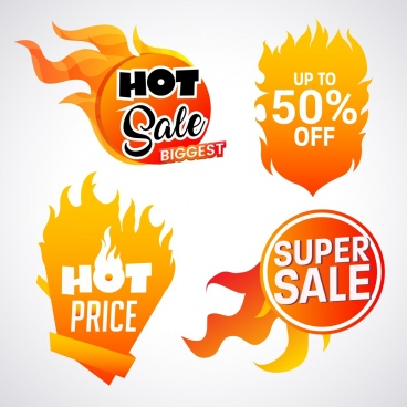 sale tags collection red flame icons various shapes