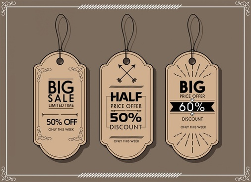 sale tags collection retro style in dark color