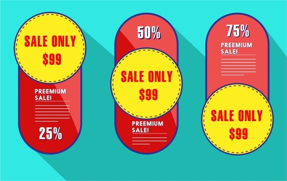 sale tags collection vertical rounded design