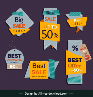 sale tags templates 3d flat shapes classic design