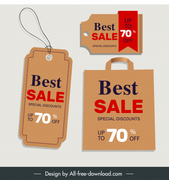 sale tags templates classic brown shapes design