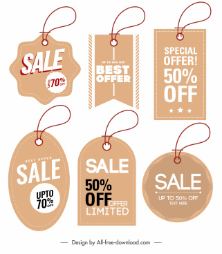 sale tags templates classic flat shapes sketch
