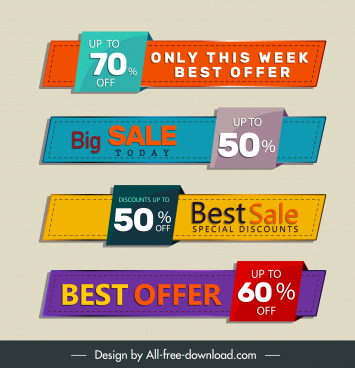 sale tags templates colorful horizontal shapes 3d sketch