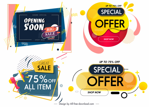 sale tags templates colorful modern decor