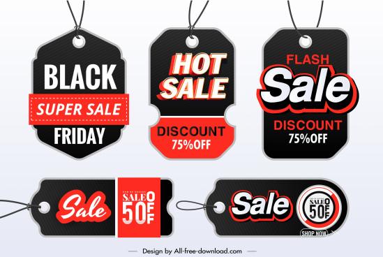 sale tags templates elegant dark black red decor