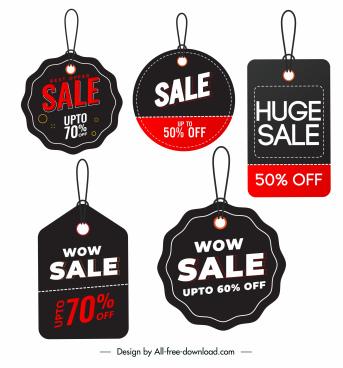 sale tags templates elegant dark flat shapes