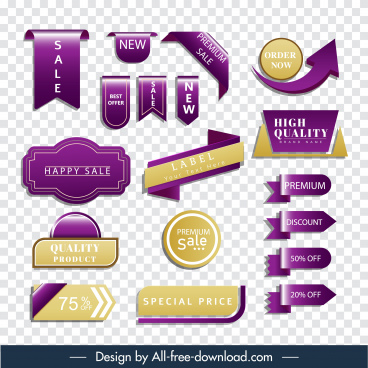 sale tags templates modern shiny 3d flat shapes