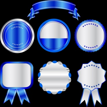 sale tags templates shiny blue various shapes isolation