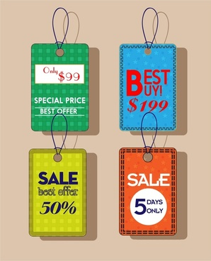 sale tags various colored background in vertical style