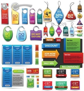 sale tags with corners banner web elements vector