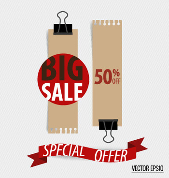 sale tags with paper ribbon banner vector