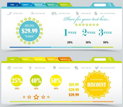 sale website menu with banners ui vector