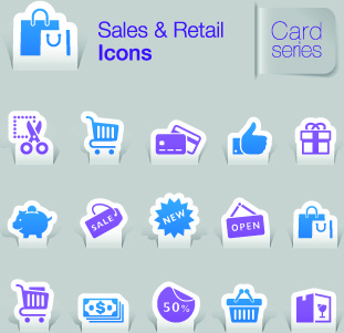 sales and retail icons vector