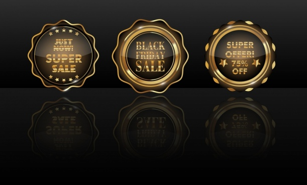 sales badge icons shiny golden circle isolation