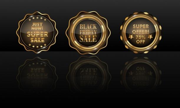 sales badge icons shiny golden circle isolation
