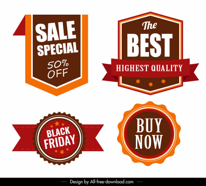 sales badges templates modern flat 3d shapes