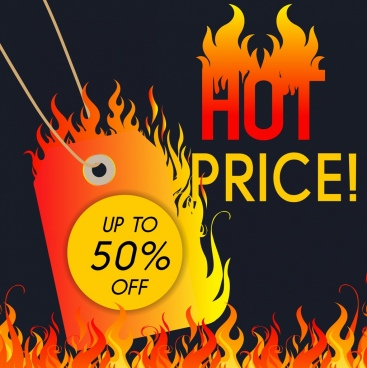 sales banner burning card flame design
